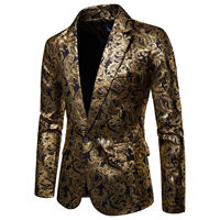 Men One Button Gold Foil Stamping Golden Floral Printed Suit DJ Club Stage Wedding Sport Suit Slim Formal Fit Casual Men Blazer