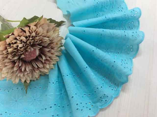 1 meter price DIY hand quilted cotton fabric lace sky blue cotton embroidery lace 12CM