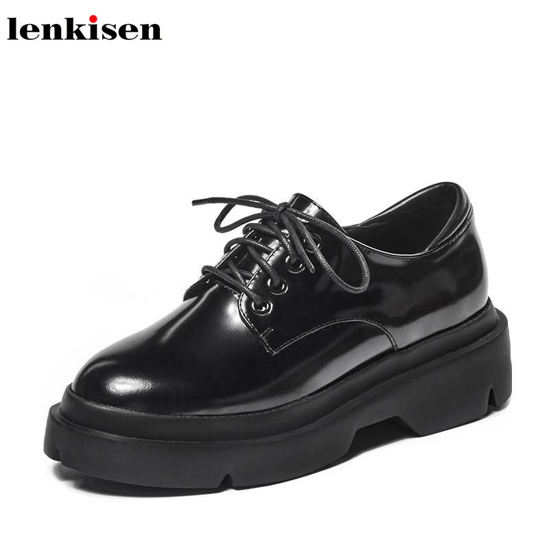 Lenkisen hot sale round toe lace up increasing cow leather platform causal shoes wedges high street fashion women pumps L15