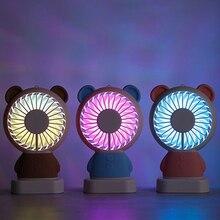 Portable Handheld Fan Electric Damo Bear Outdoor Summer Ultrathin Coloured Lights with Base Pocket Mini Travel