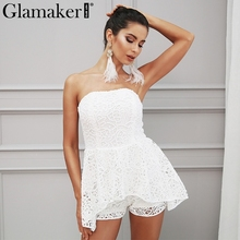 Glamaker белого кружева с открытыми плечами Цветочный комбинезон Для женщин Элегантный Slash шеи комбинезон летние пикантные шикарные женские комбинезоны