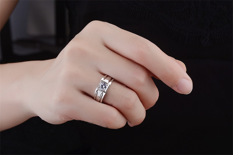 Top YANHUI Luxury Men Rings Resizable Natural 925 Sterling Silver  XV72