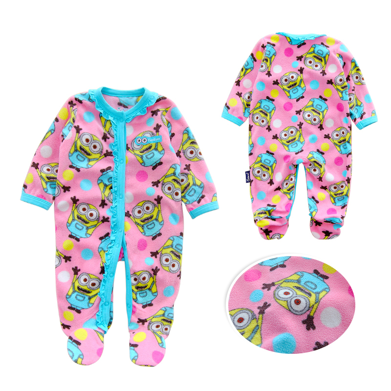Minions Newborn Baby Girls Rompers Fashion Brand Fleece Long Sleeve Ropa Bebe Infant Girl Jumpsuit Set New Baby Boy Clothes