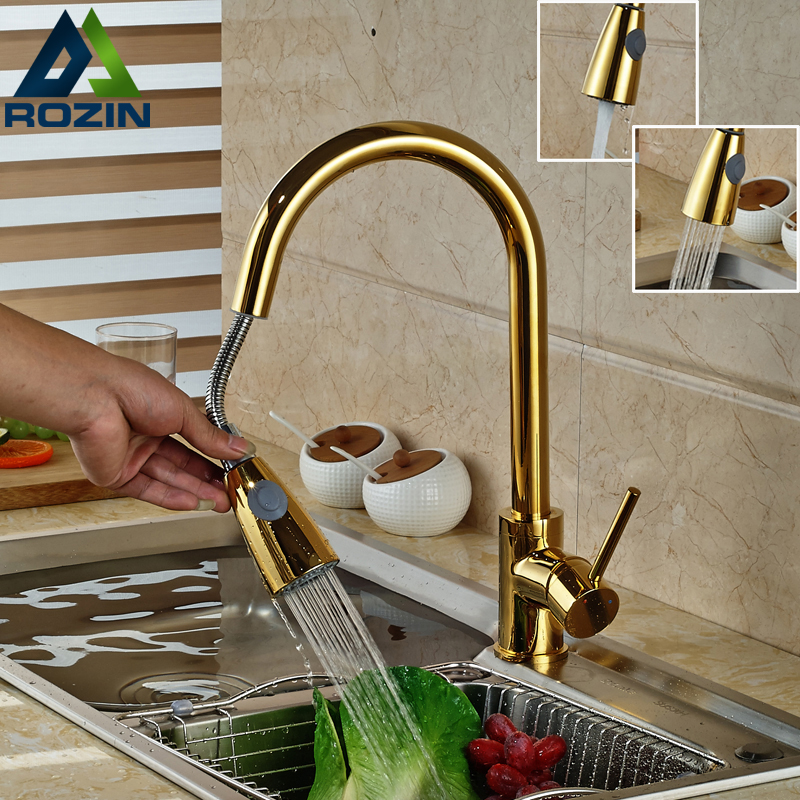 Luxury Golden Pull Out Down Kitchen Faucet Deck Munted One Handle Single Hole Dual Sprayer Nozzle