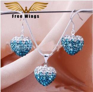 Fashion Heart-shaped Earrings Necklaces Jewlery Sets H068 B21