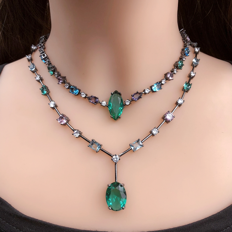Colorful Choker Necklace Crystal Glass stone for women Gift geometry green Pendant Necklace Short chain women statement jewelry