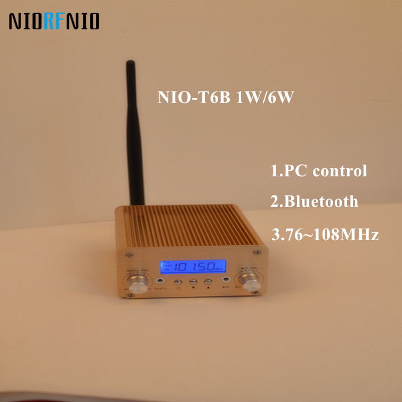 Free Shipping Wholesale NIO-T6B 1W/6W Gold Color FM Wireless Transmitter nio t6b 1w 6w output power fm radio transmitter for home party broadcasting