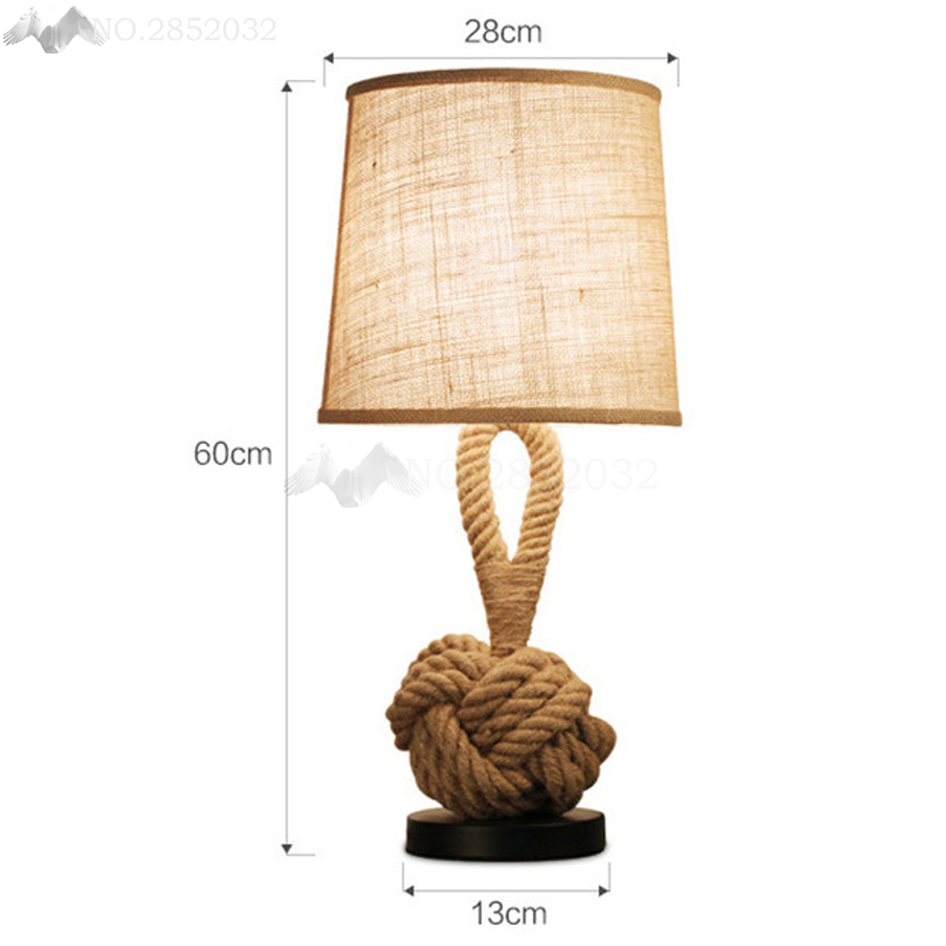North Europe Vintage Creative Hemp Rope Table Lamp Desk Light Children Modern Industrial Lampunion Lighting Furnishings Fixture Led Lamps