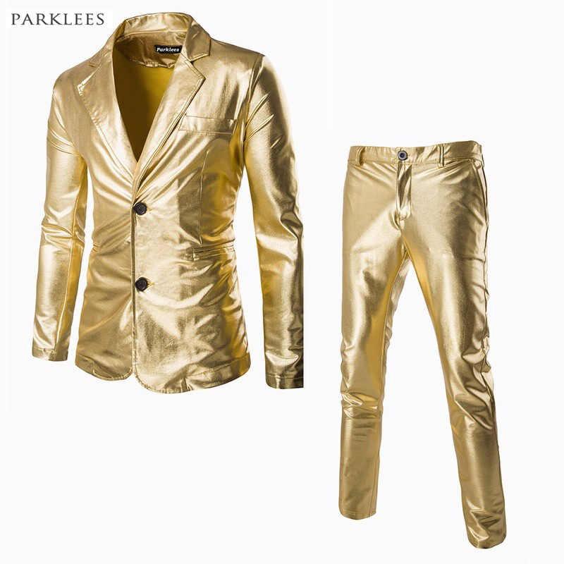 (ジャケット + パンツ) 男性ビジネススーツセット金銀スリムタキシードフォーマルなドレスのブランドブレザー舞台パーティースーツ男性