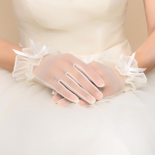 Projeto curto branco luvas de noiva acessórios do casamento