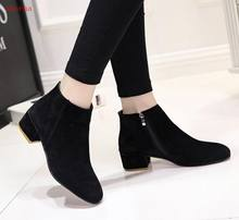 Women Ankle Boots Plus Size Plaform Chunky Heel Shoes For Female Zipper Strap Wood Low Heels Casual Ladies Short Botas(China)