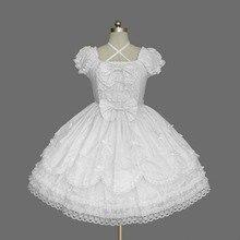 2018 Kısa Kollu Klasik Lolita Elbise Vintage Stil Criss Çapraz Boyun OP Elbise 7 Renkler Kız için