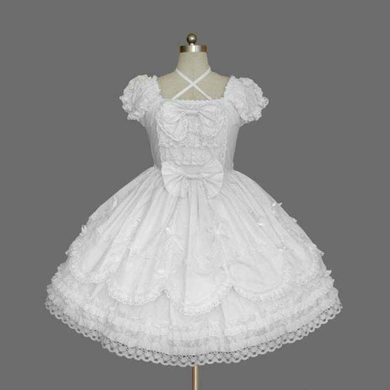 2018 manches courtes classique Lolita robe Style Vintage Criss col croisé OP robe 7 couleurs pour fille