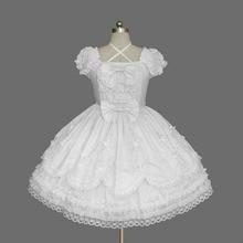 2018 קצר שרוול קלאסי לוליטה שמלת וינטג סגנון כריס צלב צוואר אופ שמלת 7 צבעים עבור ילדה