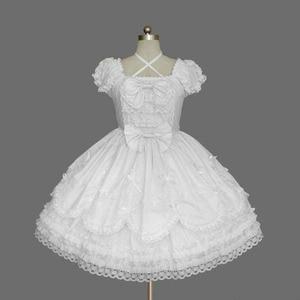 Image 1 - 2018 קצר שרוול קלאסי לוליטה שמלת וינטג סגנון כריס צלב צוואר אופ שמלת 7 צבעים עבור ילדה