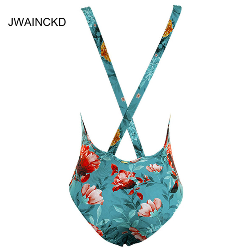 JWAINCKD Floral Print Swimsuit Female Push Up Deep V Bikinis Swimwear Women Backless Sexy Bikini Blue Bathing Suit Bandage Cross in Body Suits from Sports Entertainment