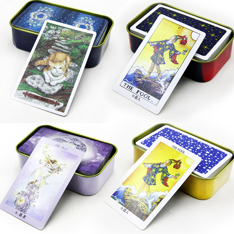 6 Kinds Option Metal Box Tarot Board Game 78 PCS/Set Boxed Playing Card Tarot 9.5*5.8cm Card Board Game For Family/Friends