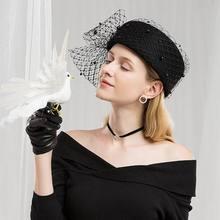 Вуалетки черные шерстяные Pillbox Свадебные шляпы для церкви женские элегантные красные женские церковные шляпы Зимние фетровые шляпы