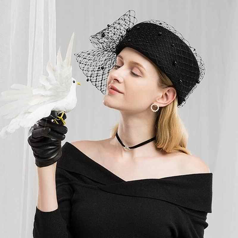 Fascinators Black Wool Pillbox Wedding Hats For Church Women Elegant Red Ladies Church Hat Winter Felt Fedoras