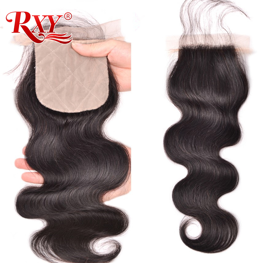 RXY Brazilian Silk Base Closure Silk Top Closure With Baby Hair Hidden Knots Body Wave Human Hair Closure Remy Hair Extensions