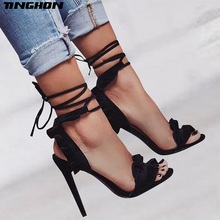 TINGHON Sexy Fashion Women Ruffles Sandals Summer shoes Solid Lace-Up Ankle Strap High Heels