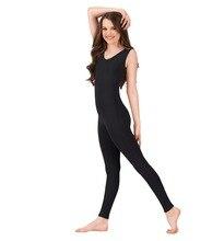 Women V Neck Spandex Unitard Black Ballet Sleeveless Tank Unitard Gymnastic One Piece Dance Wear Costume for Adult Free Shipping