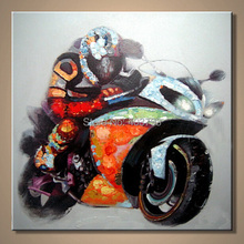 hand painted  MODERN ABSTRACT HUGE LARGE CANVAS ART OIL PAINTING absract Motorcycle paintings no framed