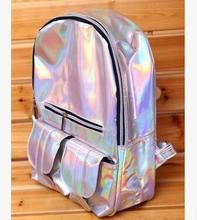 Argent/Violet Hologramme Sac À Dos Épaule Sac de Message Quotidien Sac À Dos Zipper Sac BAOK-5cc1