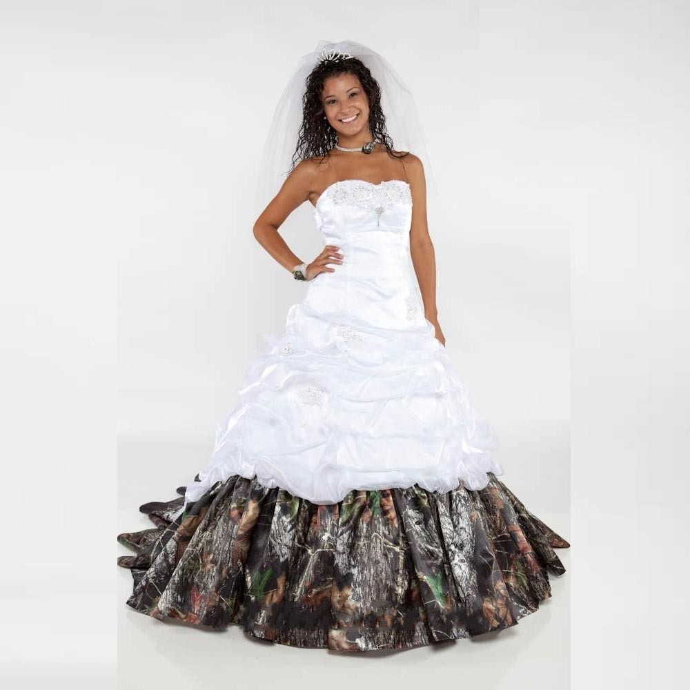 Classy Camo Wedding Ideas: Fashion Long Camo Wedding Dress 2017 Ball Gown Pleat