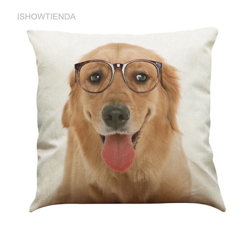 ISHOWTIENDA Hot New Pet Dog Animal Cotton Linen Throw Pillow Case Cushion Cover Home Decor Fashion Comfortable Nice Cute Dog New