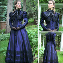 HIstory!Customer-made Blue Victorian dress 1860s Civil war Dress Scarlett Theater Costume Halloween Renaissance Dress V-494