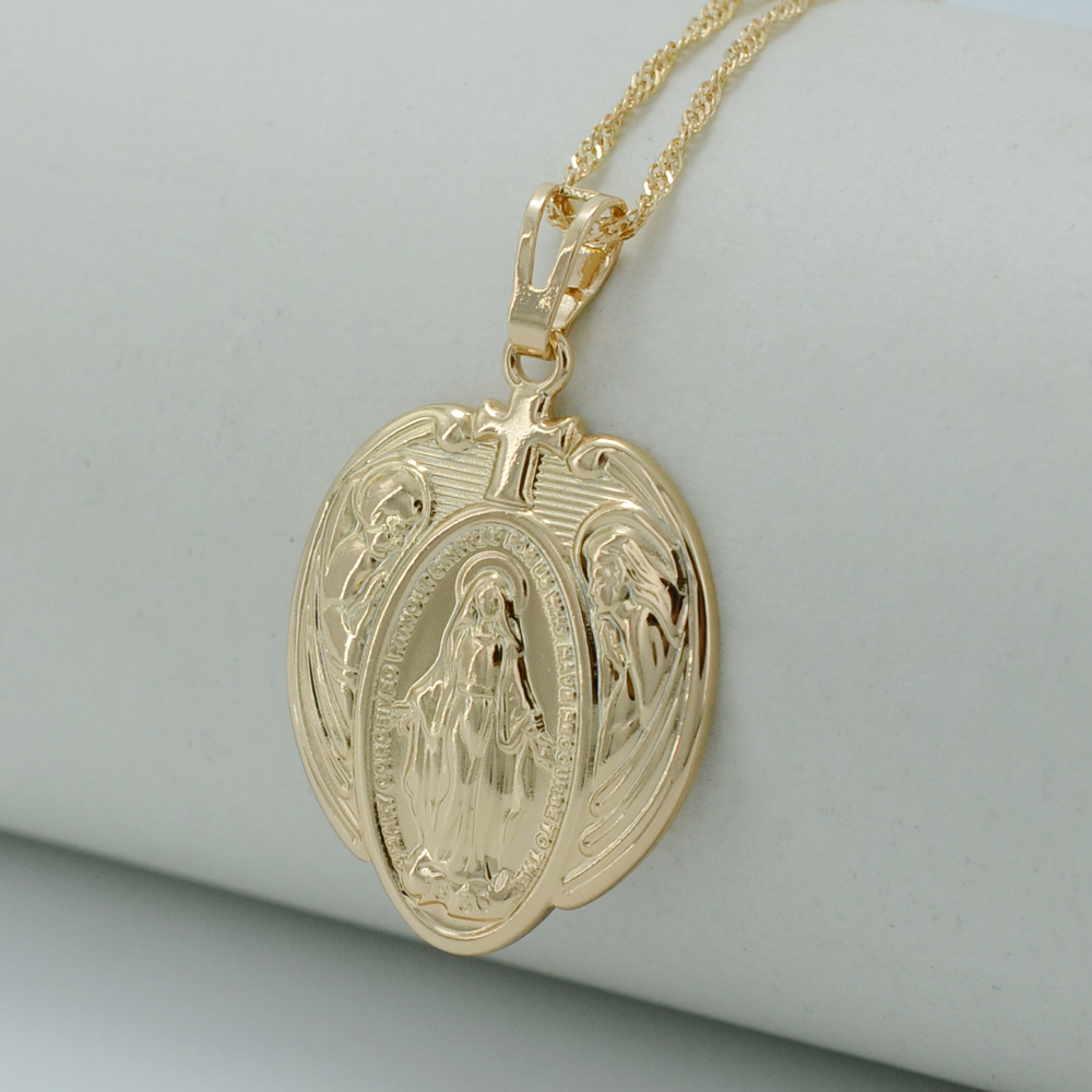 2016 New Trendy Virgin Mary Necklaces GP Gold Plated Madonnas