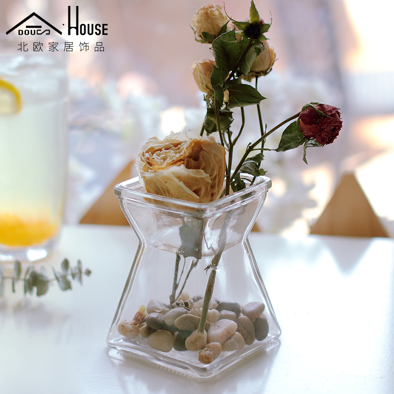 Nordic Минималистский небольшой свежий прозрачная стеклянная ваза цветок украшения домашнего интерьера творческая гостиная культуры