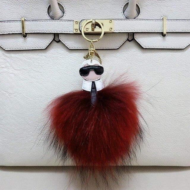 Nueva llegada de la alta calidad Multicolor Monster genuino de piel de zorro llavero cadena dominante del coche mujeres bolsa bolso de piel accesorios encanto