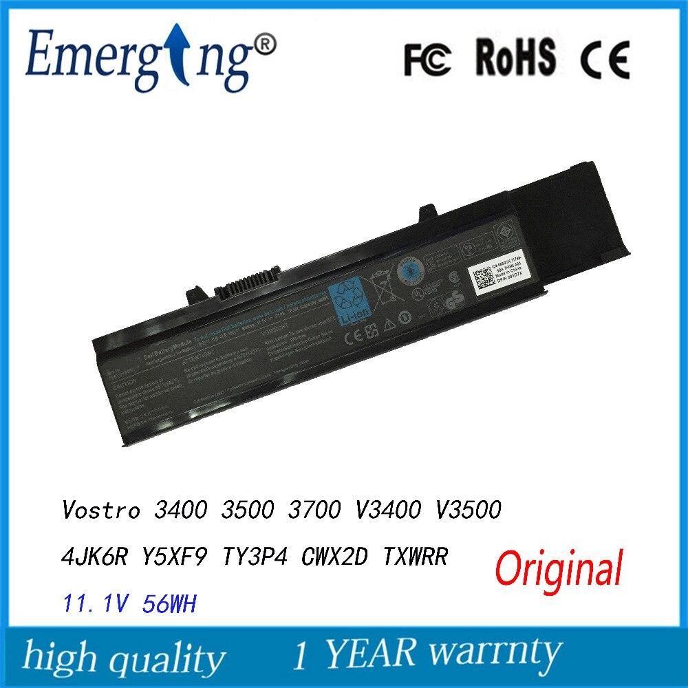 11.1 V 56Wh Nouveau Original batterie d'ordinateur portable pour Dell Vostro 3400 3500 3700 V3400 V3500 4JK6R Y5XF9 TY3P4 CWX2D 7FJ92 TXWRR