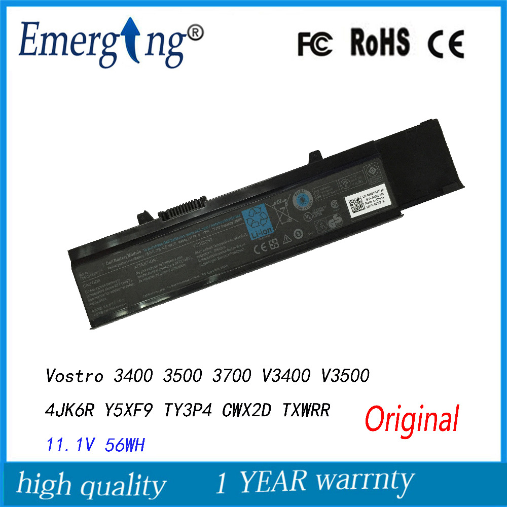 11.1V 56Wh New Original Laptop Battery for Dell Vostro 3400 3500 3700 V3400 V3500 4JK6R Y5XF9 TY3P4 CWX2D 7FJ92 TXWRR