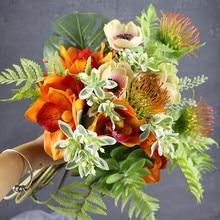 Exclusive Sales-INDIGO Orange Bouquet Anemone Cymbidium Arrangement Wedding Table Party Event CenterpieceFree Shipping