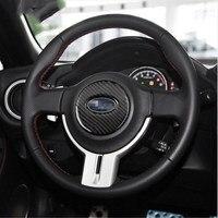 BBQ FUKA Steering Wheel Carbon Fiber Car Stickers Decorative Cover Trim For Subaru BRZ 2013 2014