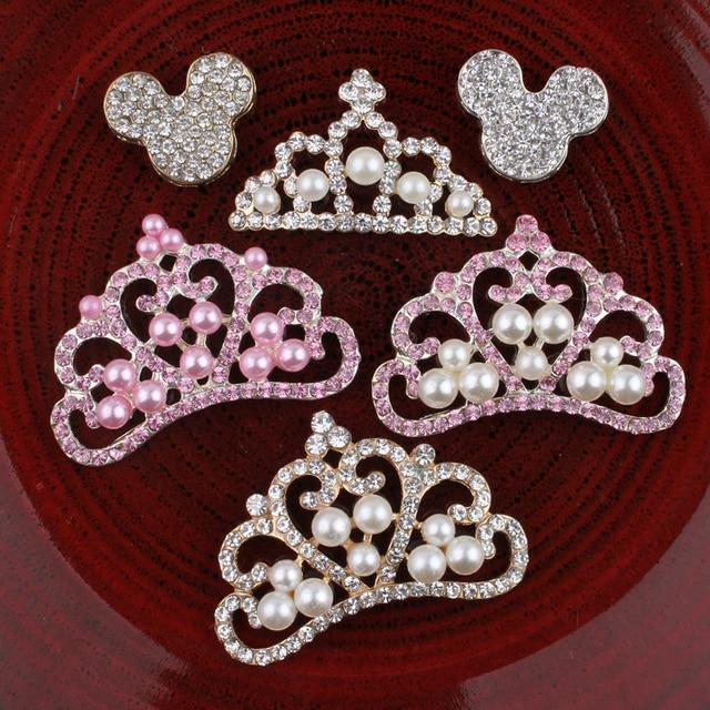5PCS Vintage Handmade Flower Rhinestone Buttons Bling Flatback Crystal Pearl  Decorative Buttons Flower Center Craft Supplies 5698f0272339