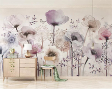 Купить с кэшбэком Beibehang custom made individuality wallpaper watercolor hand painted style Purple flower TV background wall 3d wallpaper mural