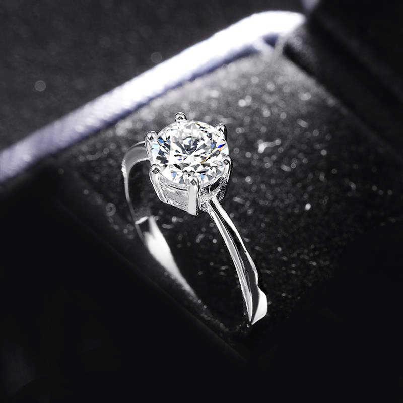 Verzonden Certificaat! Originele 925 Sterling Zilveren Ringen voor Vrouwen 5A Zirconia Engagement Trouwringen Vrouwen Meisjes Gift CR023