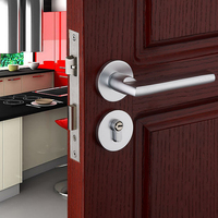 European Aluminum Silver Mute Mechanical Split Room Wooden Door Handle Lock Cylinder Security Locks with Keys Accessories