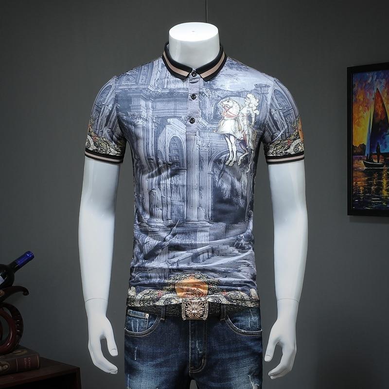 2019 summer men lapel   POLO   short-sleeved shirt printing qiantang qt2009 article number T316 P75