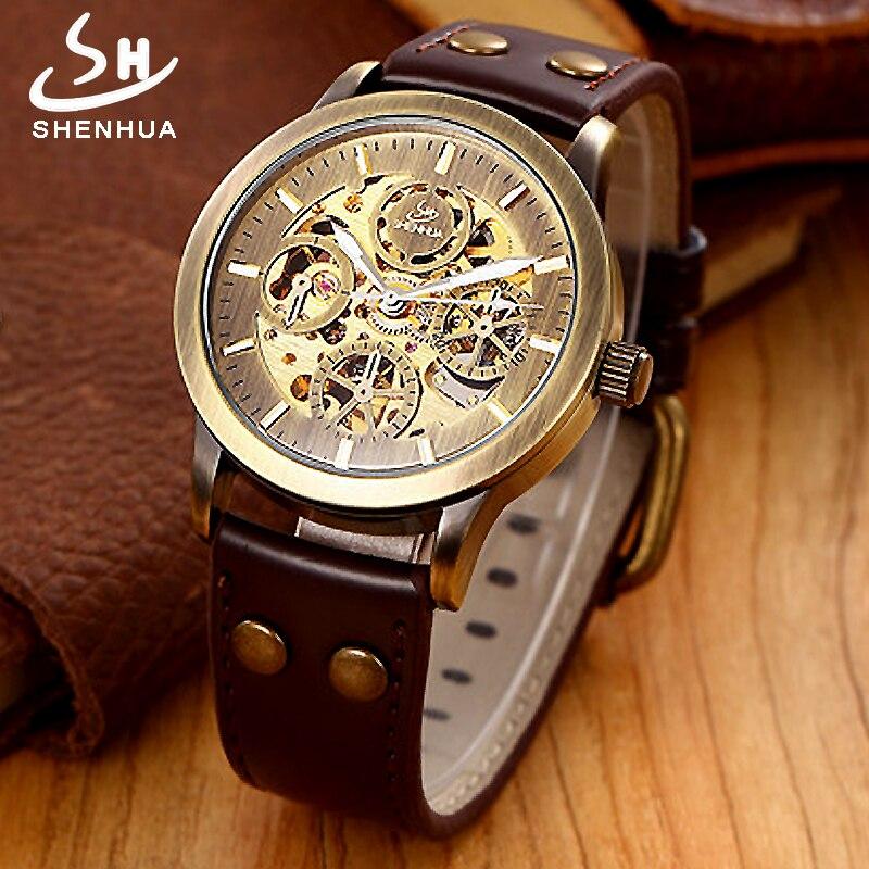 SHENHUA horloges mannen Automatic Watch Men Mechanical Wrist Watches Vintage Bronze Transparent Leather Wristwatch Clock thumbnail