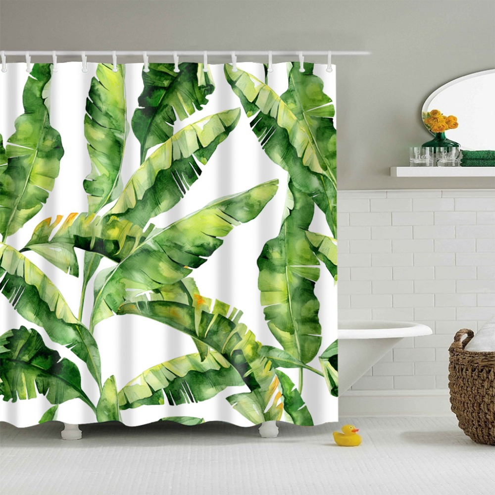 Rainforest shower curtain - Wholesale Green Plants Pattern Shower Curtains Waterproof Rainforest Bathroom Curtain Comfortable And Simple Bath Curtain