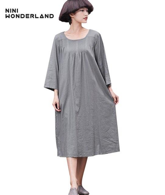 235c26fa2eb NINI WONDERLAND spring Summer pure colors cotton linen vintage straight  dresses New women large size dress
