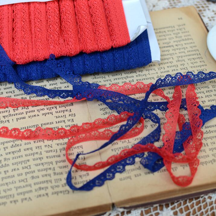 10 Meters Lot 9mm Width Blue Red Stretchy Lace Ribbon Elastic Lace