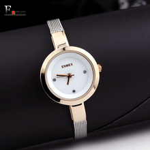 2017 gift Enmex women stainless steel slim strap watch Gloden colour graceful young girl elegant fashion quartz lady watches
