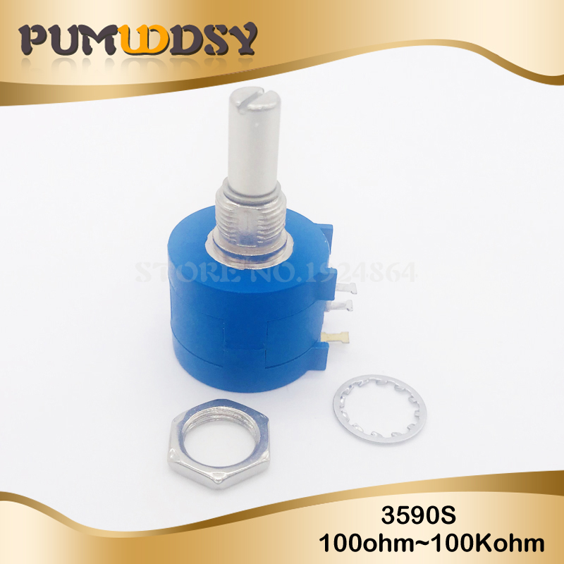 1pcs 3590S 1K 2K 5K 10K 20K 50K 100K Ohm Precision Potentiometer Adjustable Resistor 3590 102 103 502 103 203 503 104