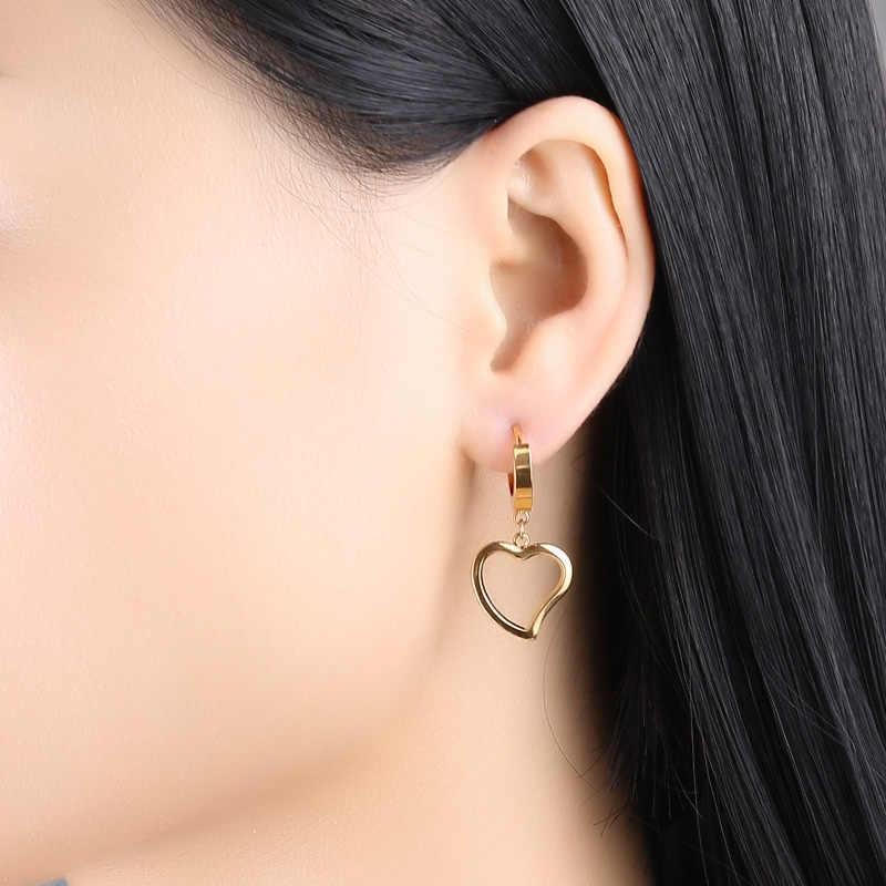 Innopes 2019 תכשיטים עגול להתנדנד עגילי לב פרפר תלתן נעילת נירוסטה עגילי מכירה לוהטת